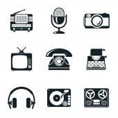 Black and White Vintage Device Icons — Stock Vector