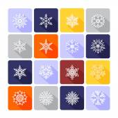 Snowflake flat icons — Vettoriale Stock