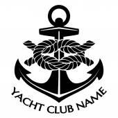 Black and White Yacht Club Logo — Stockvector