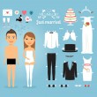 Just Married Paper Dolls with Set of Wedding Stuff — Stock Vector #60341081