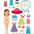 Summer paper doll. Girl with dress and hat — Stock Vector #60341085