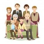 Cartooned Big Happy Family at the Sofa — Stock Vector #60342935