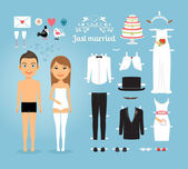 Just Married Paper Dolls with Set of Wedding Stuff — Stock Vector