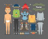 Tourist Boy Paper Doll with Clothes and Shoes — Vecteur