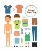 Paper doll boy in summer clothes and shoes — Stock Vector