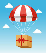 Red and White Parachute Holding Delivery Box — Stock Vector