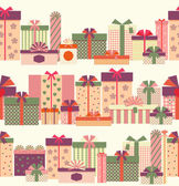 Gift boxes seamless horizontal border pattern — Vettoriale Stock