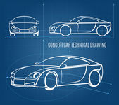 Concept car technical drawing — Stock Vector