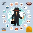 Постер, плакат: Spy with accessories icons