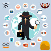 Spy with accessories icons — Stock Vector