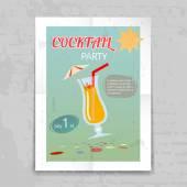 Vintage Cocktail Party inbjudan affisch — Stockvektor