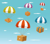 Delivery Concept - Gift Boxes on Parachute — Stock Vector