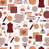 Sewing icons seamless pattern — Stock Vector
