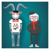 Symbols of Chinese New Year-goat and sheep in hipster clothes — Stock Vector