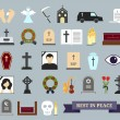Постер, плакат: Death ritual and burial colored icons