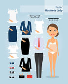 Business lady paper doll. Cute girl in office clothes — Stock Vector