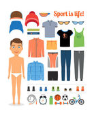 Sport boy. Clothing and sports equipment for fitness — Stock Vector