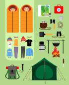 Camping concept. Boy and girl in sleeping bags next to tent with campfire. — Stock Vector