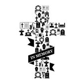 In Memory Concept - Funeral Cross Icon with Text — Stock Vector