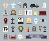 Death, ritual and burial colored icons — Stock Vector