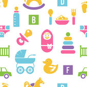 Newborn and toys background — Stock Vector