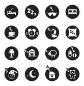 Set of round icons about sweet dreams and bed time — Stock Vector