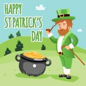 Cartooned Happy St. Patrick Day Poster — Stock Vector