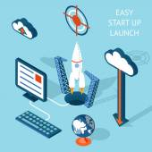 Cartooned Easy Start-up Launch Infographic Design — Vetor de Stock