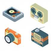 Retro media. Radio, reel tape recorder, turntable — Vetorial Stock