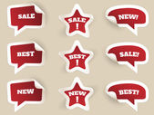 Red Labels. New, best and sale — Stock Vector