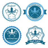 Octopus sea food logo or badge set — Stock Vector