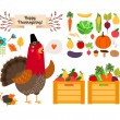 Harvest clip art. Vector fruits, vegetables for Thanksgiving and menu — Stock Vector #62267325