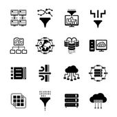 Data filter and data transfer icons — 图库矢量图片
