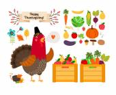 Harvest clip art. Vector fruits, vegetables for Thanksgiving and menu — Stockvektor