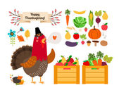 Harvest clip art. Vector fruits, vegetables for Thanksgiving and menu — Stock Vector