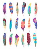 Vector colored feathers set — Stock Vector