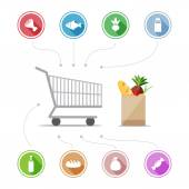 Buying food icons — Stock Vector