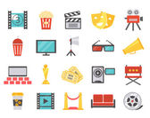 Modern cinema icons in flat style — Stock Vector
