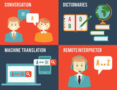Translation and dictionary concepts in flat style — Stock Vector