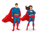 Vector Superhero Couple — Stock Vector