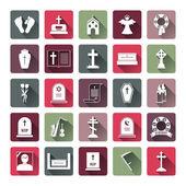 Colored Funeral Icon Set — Stok Vektör