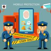 Mobile phone protection. Financial security and data confidentiality — Stock Vector