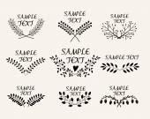 Hand drawn floral symmetric graphic design elements — Stock Vector