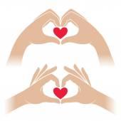 Hands with heart — Stock Vector