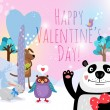 Vector animals with hearts on Valentines Day for cards and valentines — Stock Vector #63504289