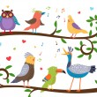 Singing birds on tree branches — Stock Vector #63504335