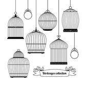 Birdcages silhouettes — Stock Vector