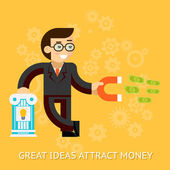 Great ideas attract money. Businessman holding magnet attracting money — Stock Vector