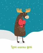 Love warms you. Cute moose hugging big red heart under falling snowflakes — Stock Vector