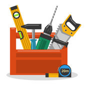 Tools in toolbox — Stock Vector